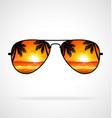 cool aviator sunglasses sunset beach mirrored vector image vector image