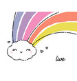 cute and funny smiling rain cloud with rainbow vector image vector image