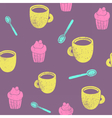 Cute teatime pattern Cupcake cups spoons vector image vector image