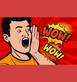delighted man pop art retro comic style cartoon vector image vector image