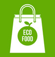 eco food bag icon green vector image vector image