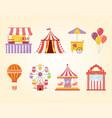 fun fair carnival recreation tent carousel food vector image