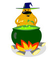 halloween dog character in witch hat with boiling vector image vector image