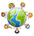 happy childrens around the earth vector image vector image