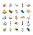 hotel isometric icons pack vector image vector image