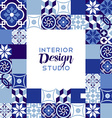 Interior design studio text with mosaic decoration vector image vector image