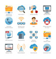 Internet And Network Flat Icons Set vector image
