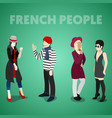 Isometric french people in traditional clothes