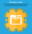 kitchen stove icon Floral flat design on a blue vector image vector image