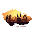 landscape prague with sights abstract skyline vector image vector image