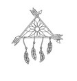 line beauty dream catcher with feathers and arrows vector image vector image