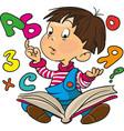 little boy reads a book vector image vector image