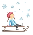 Little girl on the sled vector image vector image