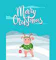 merry christmas postcard pig on snowy landscape vector image vector image