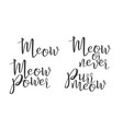 modern calligraphy of ink meow letters vector image