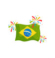 national flag of brazil and colorful salutes vector image