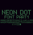 neon dot font in green part 1 vector image