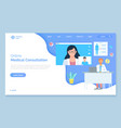 online medical consultation with doctor landing vector image vector image
