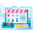 online shopping in a mobile application on the vector image vector image