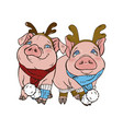 pigs in christmas costumes vector image vector image