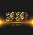 realistic glow golden 3d 2020 new year card vector image