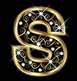 S gold letter with swirly ornaments vector image vector image