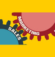 sales and marketing text on the gears vector image vector image