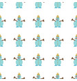 seamless pattern with snowman in flat style vector image