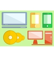 set digital objects on flat style vector image vector image