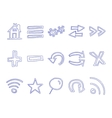 Set of hand drawn web icons and logo internet vector image vector image