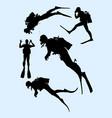 snorkeling diving gesture silhouette vector image