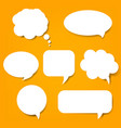 speech bubble set and orange background vector image vector image
