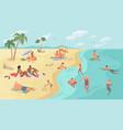 summer activities people relaxing on seashore vector image