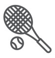 tennis line icon fitness and equipment racket vector image