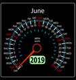 the 2019 year calendar speedometer car june vector image vector image