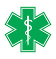 the star of life with the staff of asclepius vector image vector image
