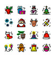 thin line christmas icons set vector image vector image