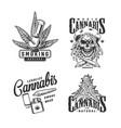 vintage monochrome cannabis emblems set vector image vector image