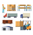 warehouse and logistics processes worker with vector image