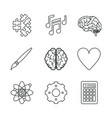 white background with monochrome icons of brain or vector image vector image