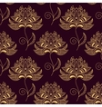 Yellow on purple paisley seamless floral pattern vector image vector image