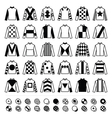 Jockey uniform - jackets silks and hats icons vector image