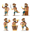 funny cartoon pirate with sword and treasure vector image