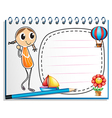 A notebook with an image of a girl and an empty vector image vector image