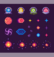 aliens in suits planets and stars with bursts vector image