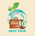 banner on a tourist theme with planet earth vector image vector image