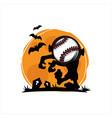 baseball halloween moon theme vector image vector image
