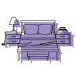 bedroom with nightstand purple watercolor vector image