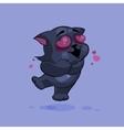 Black cat in love vector image