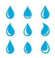 blue abstract water drops silhouette set icons vector image vector image